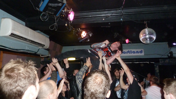 Scott Kennedy of Bleed From Within Crowd Surfing in Cambridge