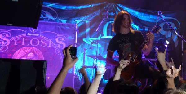 Alex Bailey of Sylosis live on stage at Islington Academy October 2011