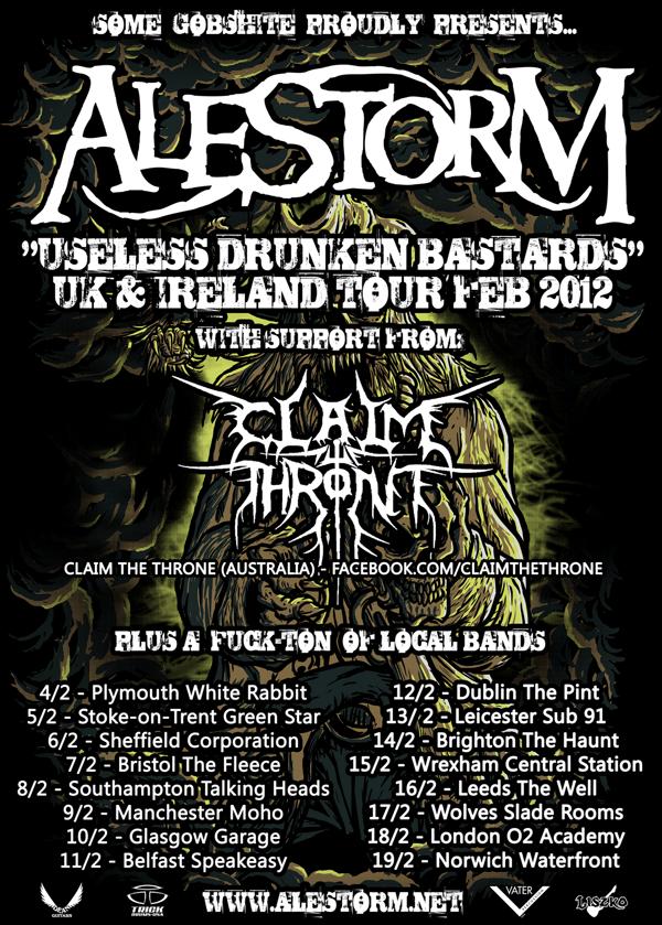 Alestorm UK 2012 Official Tour Poster