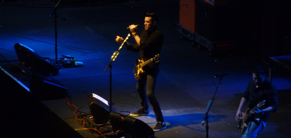 Theory Of A Deadman's Tyler Connolly on stage at Wembley Arena