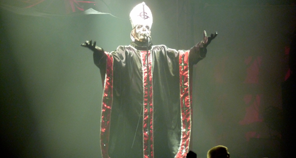 Papa Emeritus of Ghost on stage at Brixton Academy during Defenders Of The Faith III