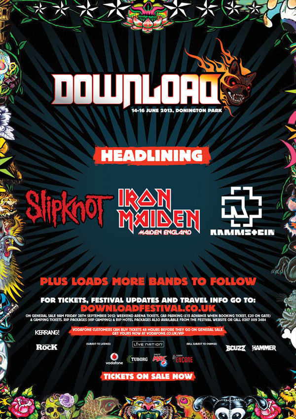 Download Festival 2013 First Lineup Poster