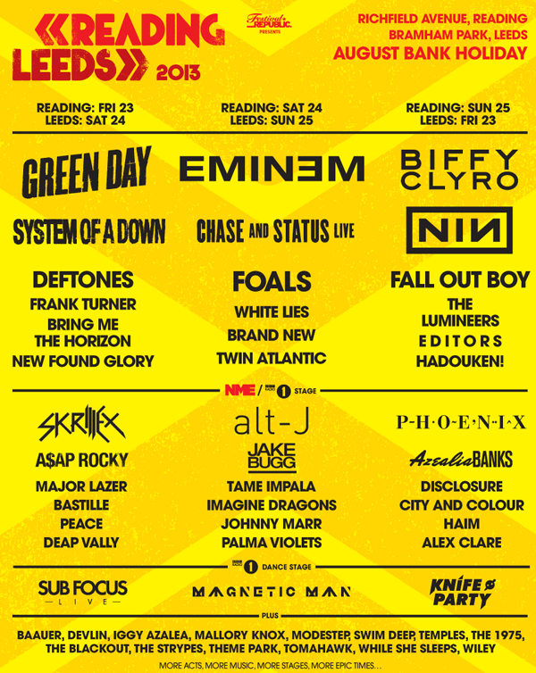 Reading and Leeds Festival Poster 2013 with all 3 headliners announced