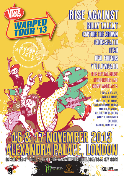 First poster for the 2013 UK Vans Warped Tour