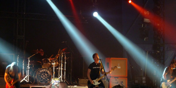 Jason Newsted & his band on stage at Download Festival 2013