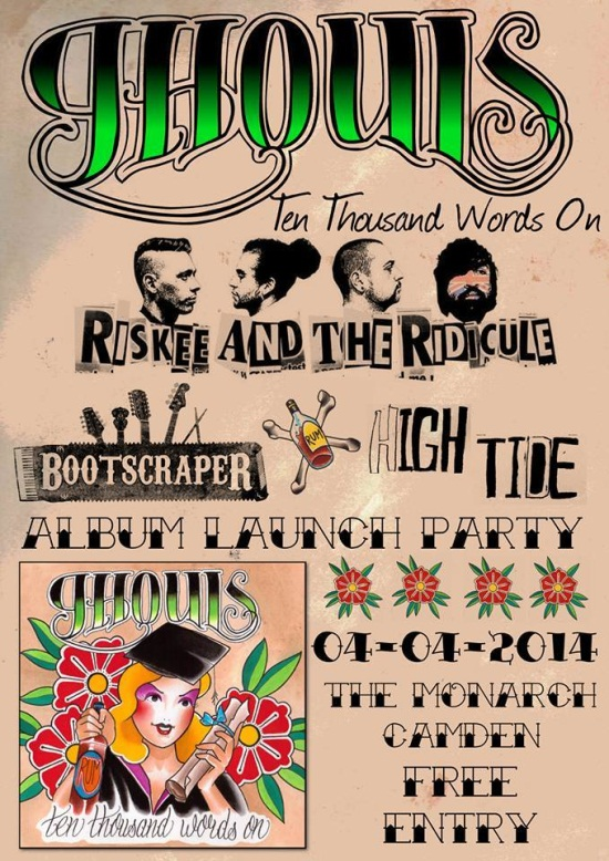 Ghouls Album Launch Gig Poster April 2014