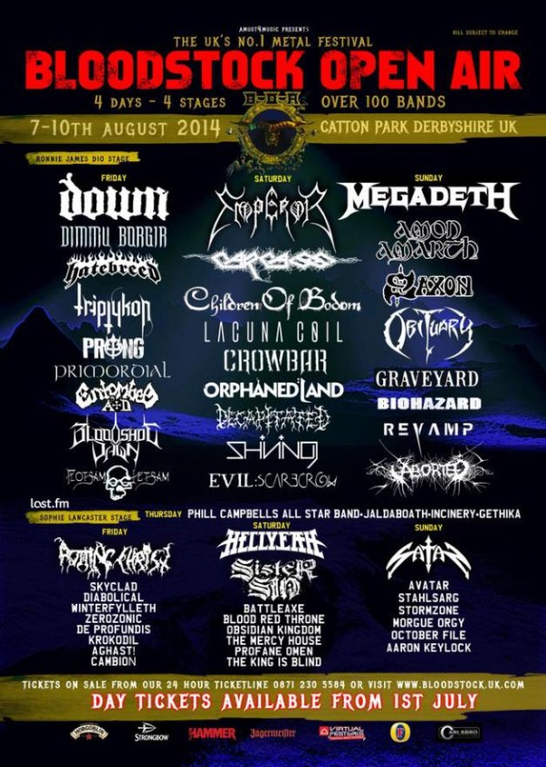 Bloodstock Open Air Festival 2014 Multi Stages line up poster