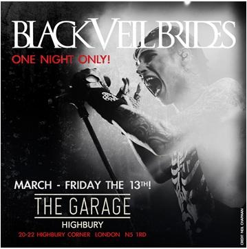 Black Veil Brides The Garage March 2015 Poster