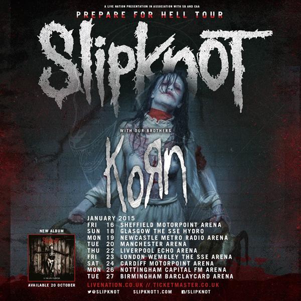 Slipknot Korn Prepare For Hell UK Tour 2015 Poster