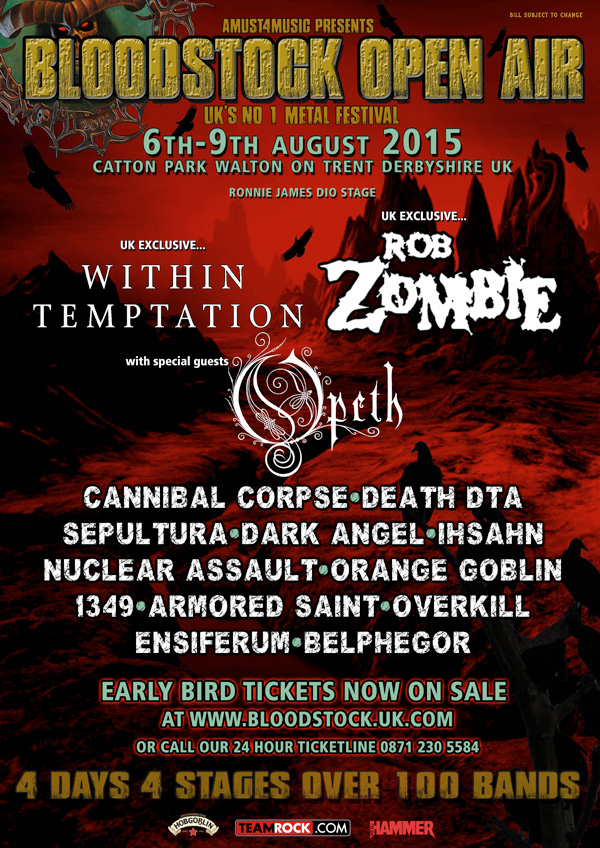 Bloodstock Open Air Festival 2015 Latest Lineup Poster November 25th