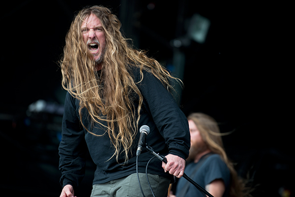 Obituary's John Tardy on stage at Bloodstock Open Air Festival 2014