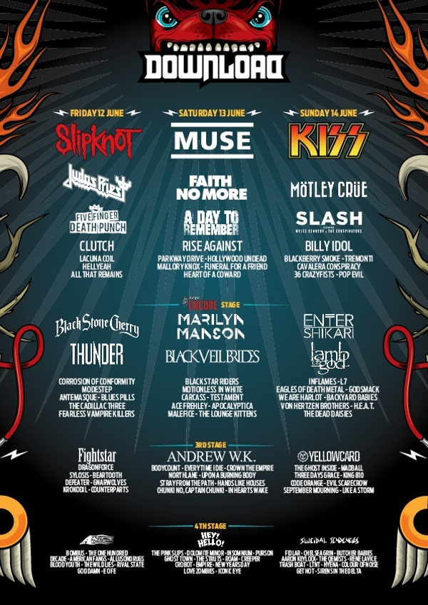 Download Festival 2015 May Line Up Poster