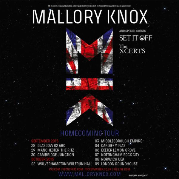 Mallory Knox Set It Off 2015 UK Tour Poster