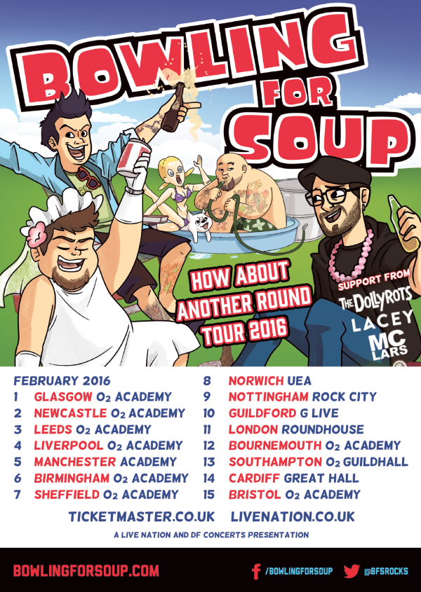 Bowling For Soup How About Another Round 2016 UK Tour Poster MC Lars