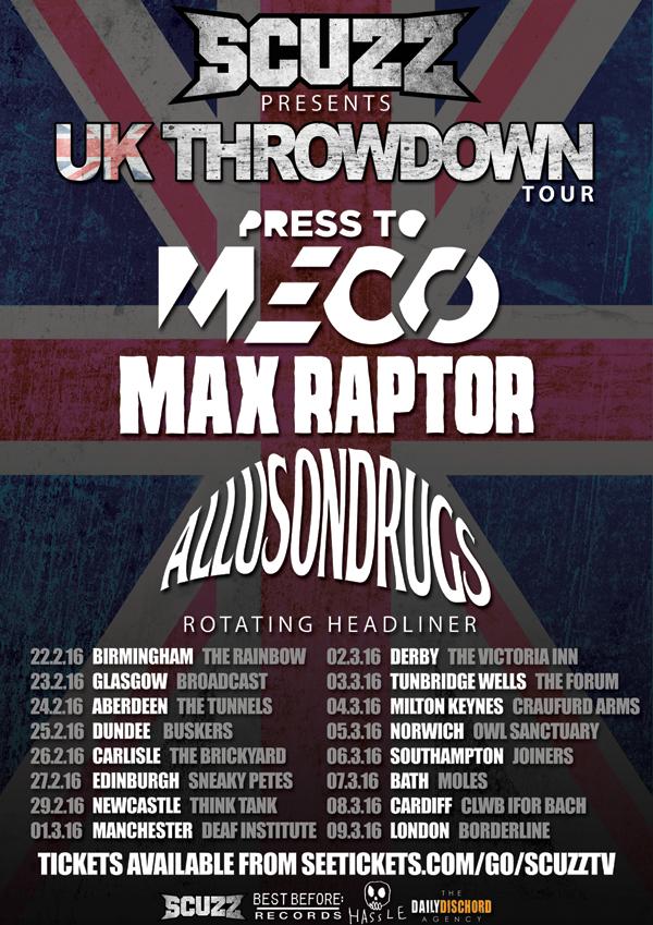 Scuzz UK Throwndown Tour 2016 Poster