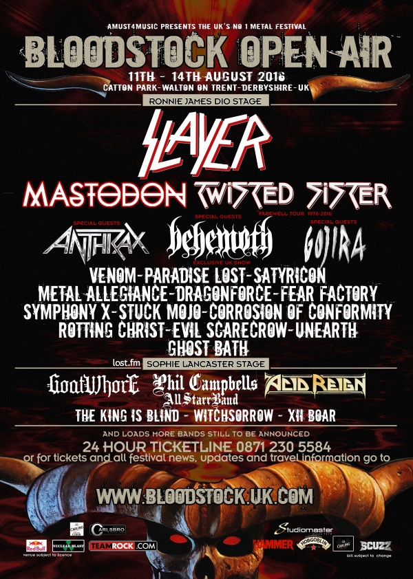 Bloodstock Open Air Festival 2016 1st March Poster
