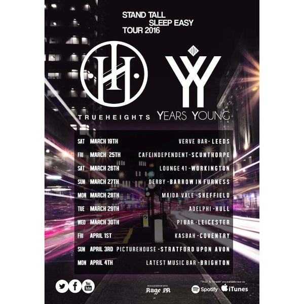 TrueHeights Years Young 2016 UK Tour Poster