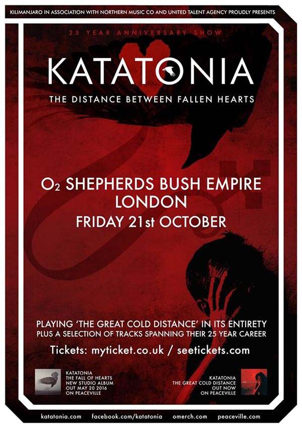 Katatonia - O2 Shepherds Bush Empire 25th Anniversary Show London Poster
