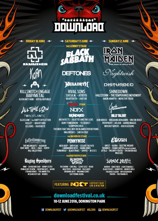 Download Festival 2016 Line Up Final Poster