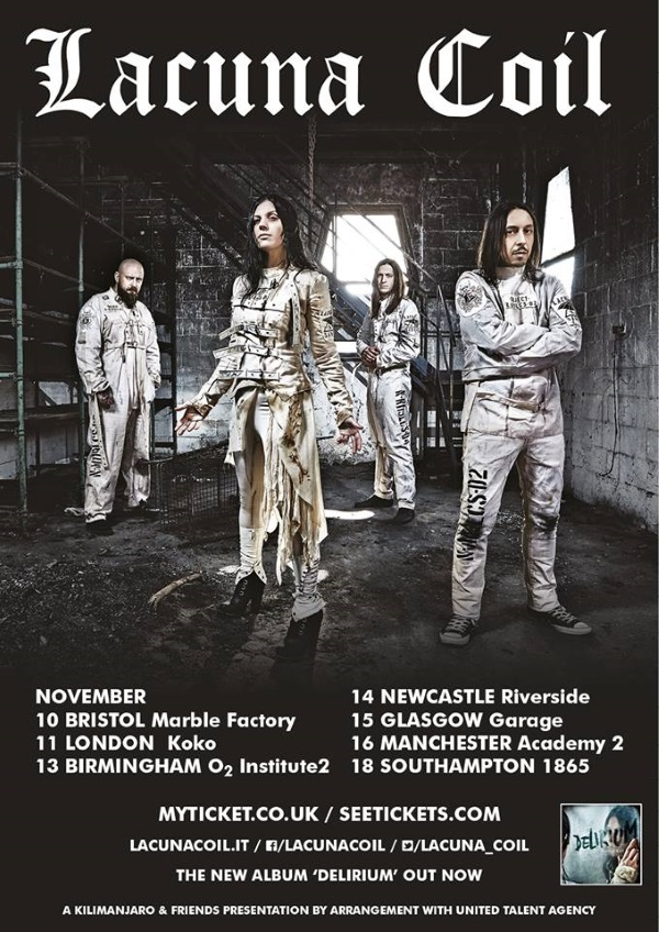 Lacuna Coil November 2016 UK Headline Tour Poster