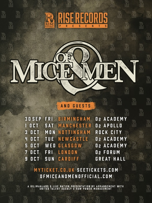 Of Mice and Men UK Tour Poster October 2016