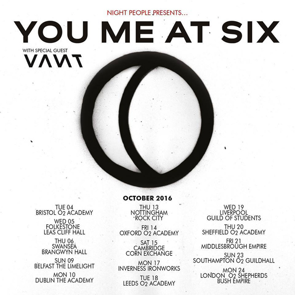 You Me At Six Night People October 2016 UK Tour Poster