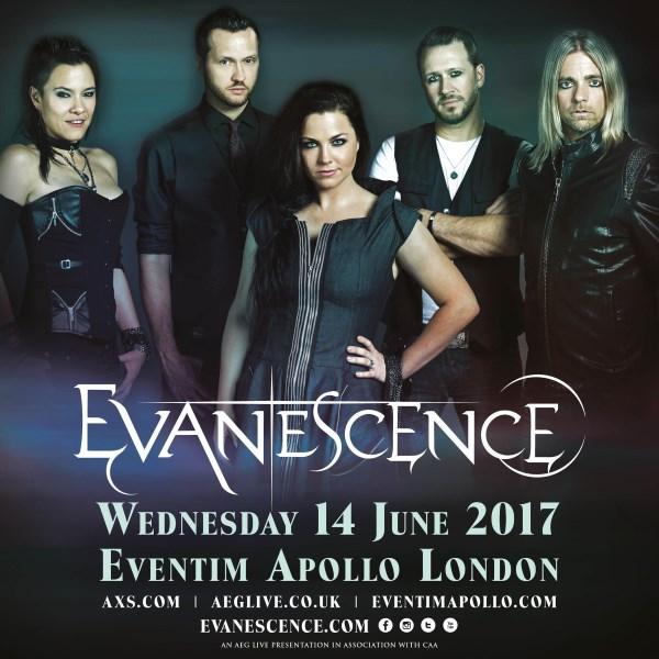 Evanescence June 2017 UK Hammersmith Apollo Show Poster
