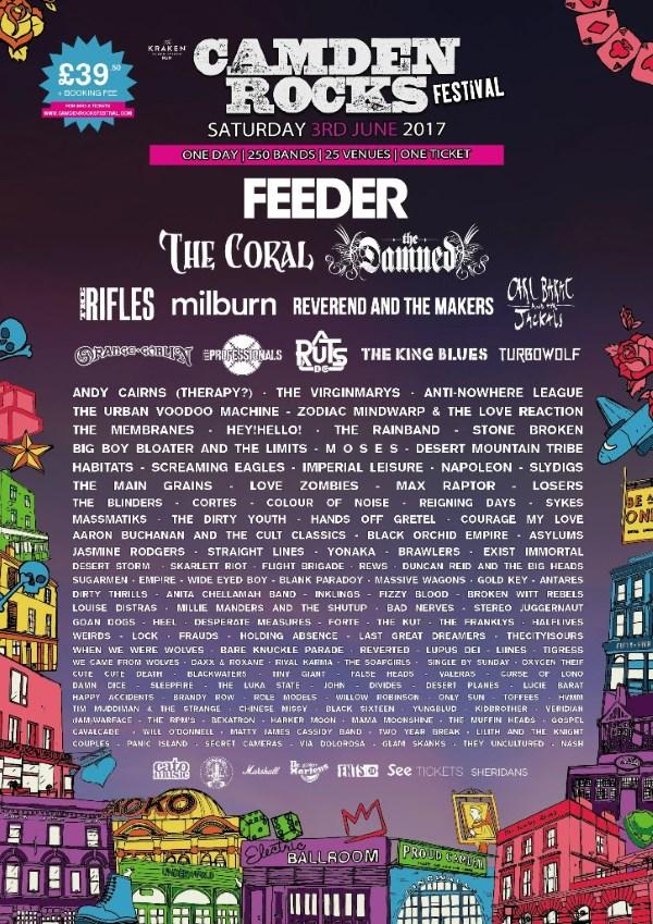 Camden Rocks Festival 2017 Feeder Headliners Poster