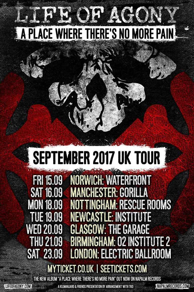 Life Of Agony September 2017 UK Tour Poster