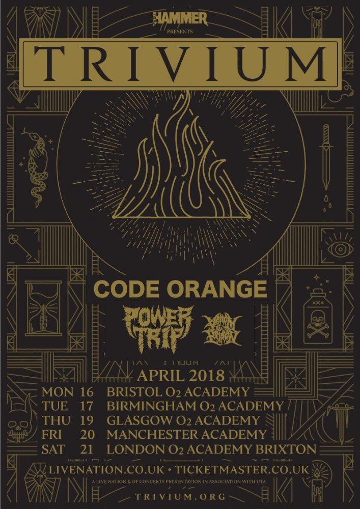 Trivium 2018 TSATS UK Tour Poster