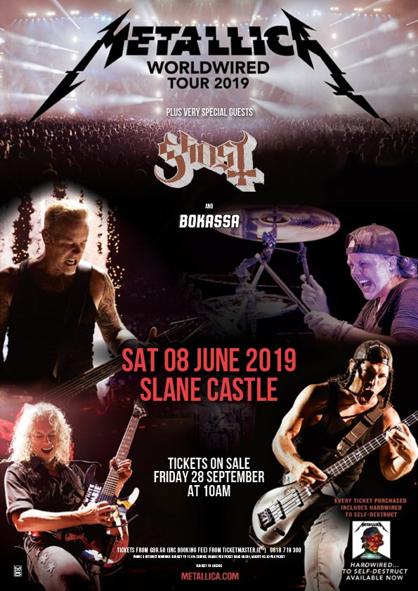 Metallica Slane Castle 2019 Worldwired Tour Poster