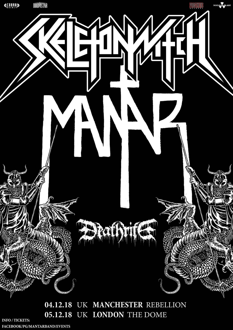 Skeletonwitch Mantar Deathrite UK Tour Poster 2018