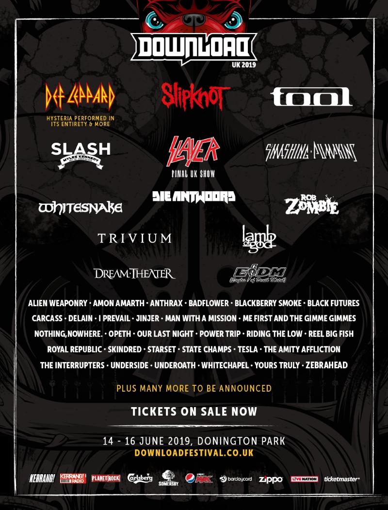 Download Festival 2019 Second Line Up Poster