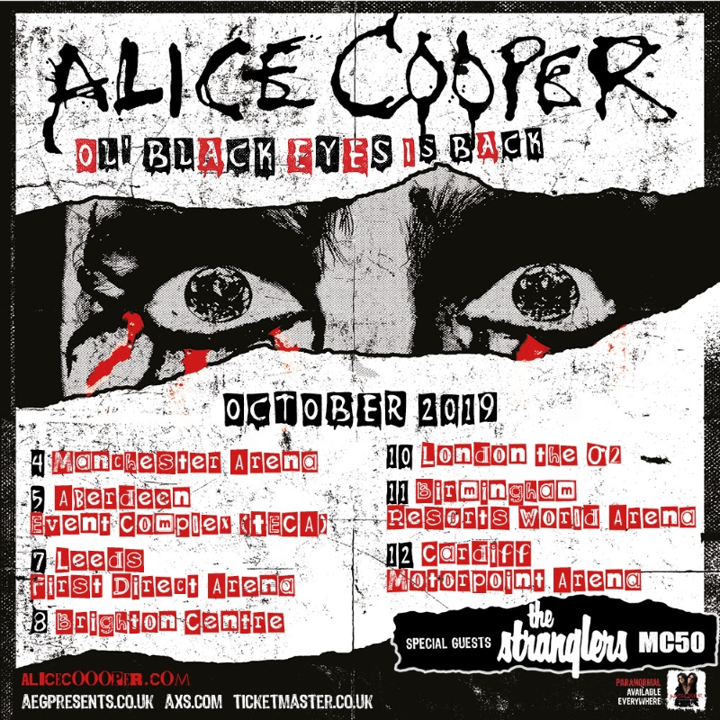 Alice Cooper Ol Black Eyes Is Back 2019 UK Tour Poster