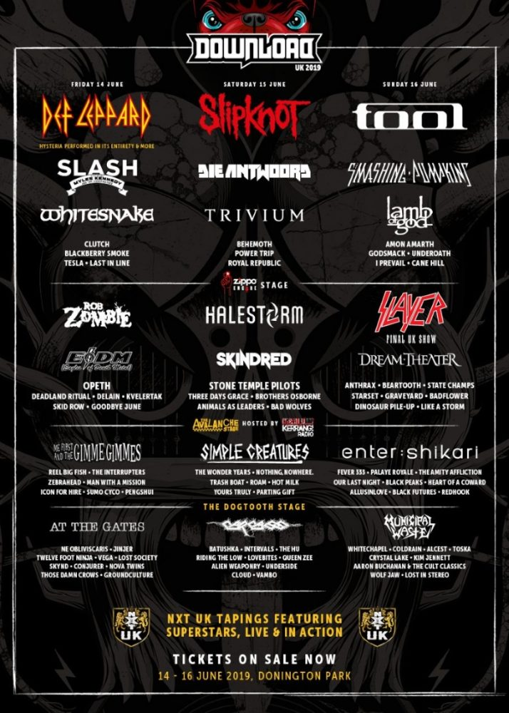 Download Festival 2019 April Line Up Poster NXT UK