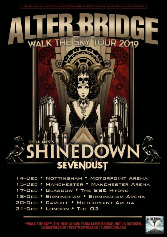 Alter Bridge Shinedown UK Tour Poster December 2019